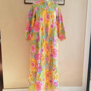 Vintage Dresses - VTG Stunning Bright Floral 70's Dress Housecoat L